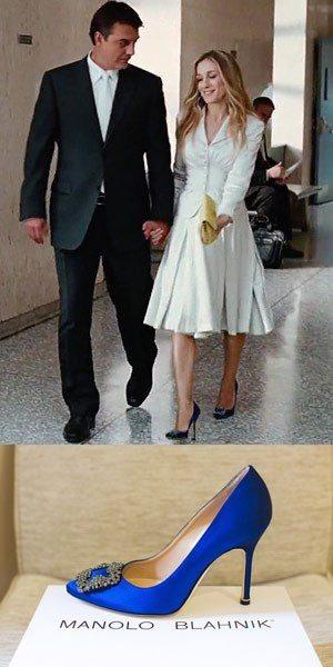 Carrie Bradshaw Wedding Blue Shoes